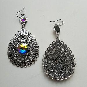 GASOLINE GLAMOUR Jewelry - GYPSY MEDALLION DROP EARRINGS OPAL NEW